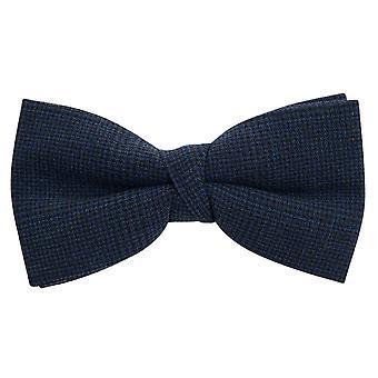 Dobell Mens Navy Check Seersucker Bow Tie Pre-Tied