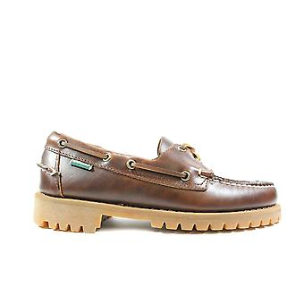 Sebago Ranger 7001HU0 Couro Marrom Waxed Mens Lace Up Sapatos de Barco