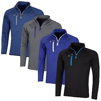 Island Green Mens Golf Contrast Mid Zip Thermal Sweater