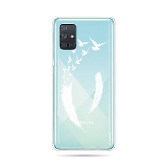 Runko Samsung Galaxy A71 joustava sulka ja lento linnut