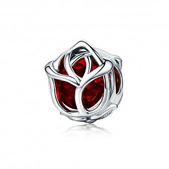 Sterling Silver Charm Red Rose - 5536