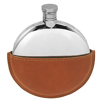 5.5oz Plain Round Ellipse Flask Pewter With Leather Pouch