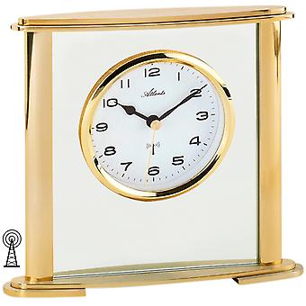 Atlanta 3092/9 style clock table clock radio analog golden with glass