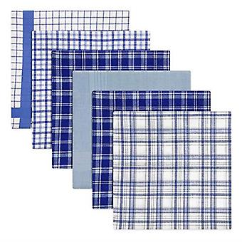 Mens/Gentlemens Handkerchiefs 100% Cotton Blue Check & Dyed Designs, Gift Boxed