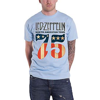 Led Zeppelin T Shirt 1975 North American Tour Band Logo new Official Mens Blue