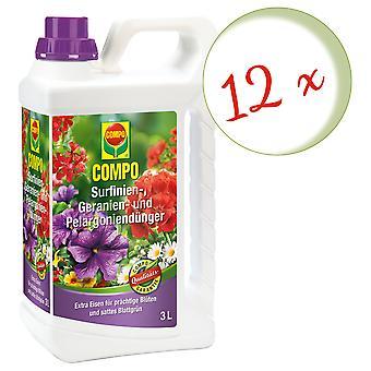 Sparset: 12 x COMPO Surfinien, Geranium en Pelargonia meststof, 3 liter