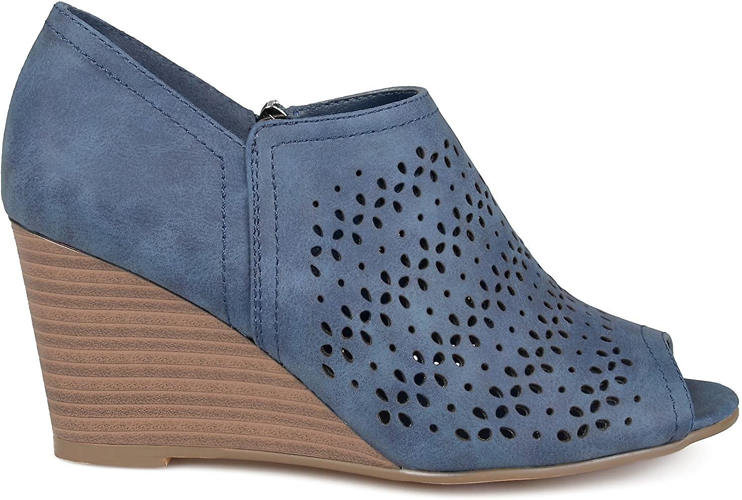 Brinley Co. Womens Faux Leather Peep-Toe Laser Cut Wedges hJNEh