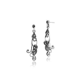 Art Nouveau Style Round Marcasite Drop Earrings in 925 Sterling Silver 214E661201925