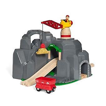 BRIO kran & Mountain Tunnel 33889 7 stykke træ togsæt - stor værdi