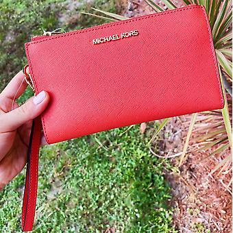 Michael kors jet set large double zip wristlet wallet mandarin saffiano leather