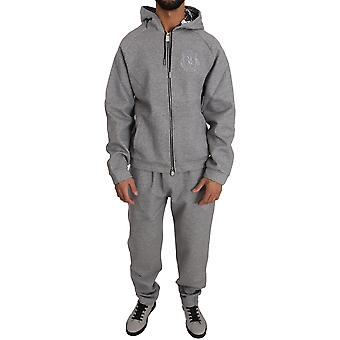 Billionaire Italian Couture Gray Cotton Sweater Ribbed Cuffs Tracksuit