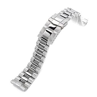 Strapcode watch bracelet 22mm endmill 316l stainless steel watch bracelet for seiko new turtles srp777, brushed & polished submariner diver clasp