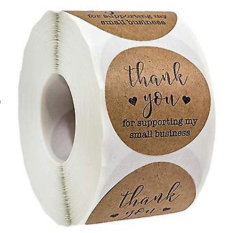 500pcs Obrigado por apoiar meu negócio - Adesivos Kraft com folha de ouro