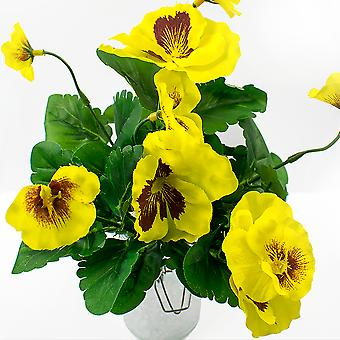 Large Artificial Yellow Pansy Spray - Silk Fabric Flowers