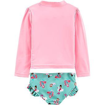 Simple Joys by Carter's Girls' 2-Piece Rashguard Set, Pink Mermaid, 24 Months