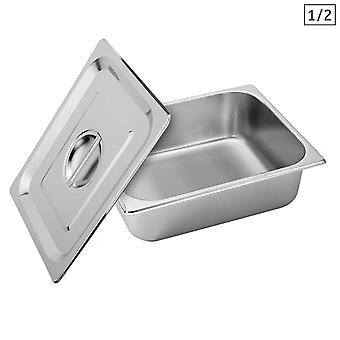 SOGA Gastronorm GN Pan Full Size 1/2 GN Pan 10cm Deep Stainless Steel Tray With Lid