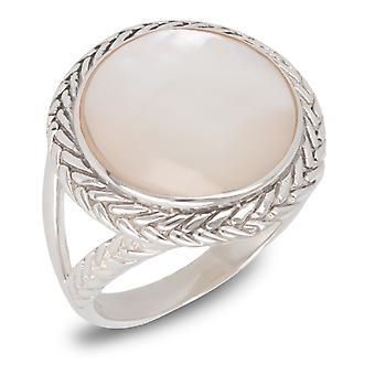 ADEN 925 Sterling Hopea Valkoinen Helmiäinen Pyöreä muoto Rengas (id 3708)
