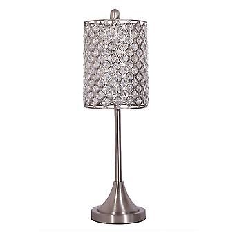 Set of 2 Metal Table Lamp w Crystal Bead Shade