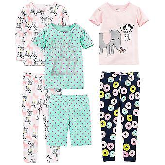 Simple Joys de Carter's Girls' Little Kid 6-Piece Snug Fit Cotton Pajama Set,...