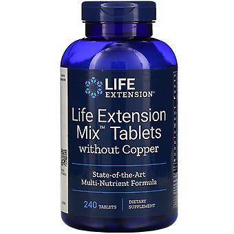 Extensión de la vida, tabletas de mezcla de extensión de vida sin cobre, 240 tabletas