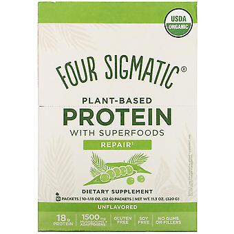 Four Sigmatic, Plant-Based Protein with Superfoods, Unflavored, 10 Packets, 1.13