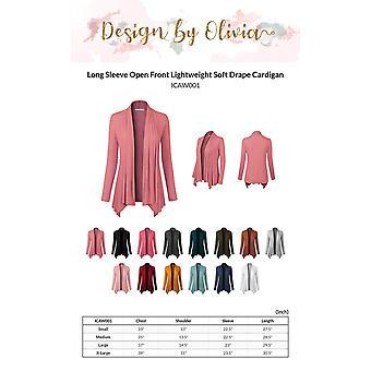 Design by Olivia Women's Long Sleeve Open Front Lightweight Soft Drape Cardig...