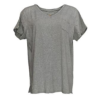 Belle by Kim Gravel Women's Top TripleLuxe Pima V-Neck T-Shirt Gray A378623