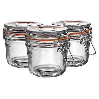 Argon Bordservice Glas Opbevaring Krukker med lufttæt klip låg - 350ml Sæt - Orange Seal - Pack af 6