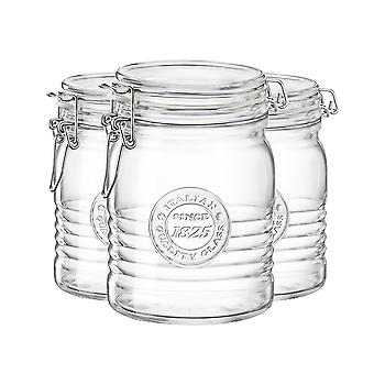 Bormioli Rocco Officina 1825 Glass Storage Jar with Airtight Clip Lid - 750ml - Pack of 3