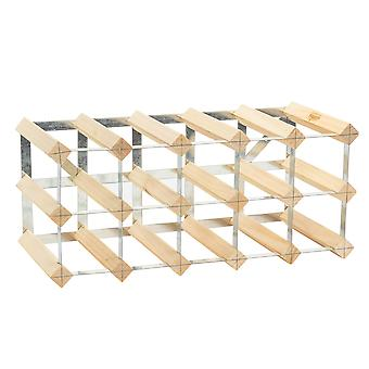 15 Bottle Wine Rack - Fully Assembled - Light Wood