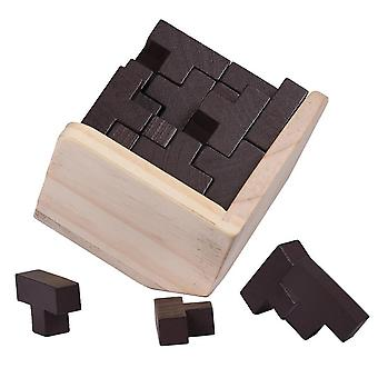 T Σχήμα 3d ξύλινα παζλ κτίριο σπαζοκεφαλιές Luban ενδασφαλίζοντας παιχνίδι