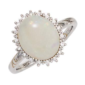 Women's Ring 585 Gold White Gold 1 Opal Cabochon 18 Diamonds Brilliant Opal Ring