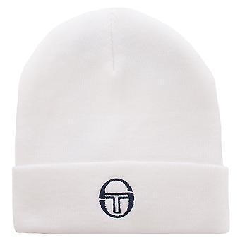Sergio Tacchini Mens Inez Warm Winter Knitted Beanie Hat - White/Navy