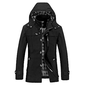 Autumn And Winter New Men's Mid-length Casual Cotton Jacket, Slim-fit Hooded Stand-collar Jacket