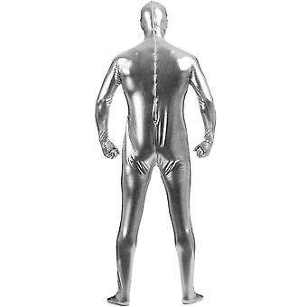 AltSkin Adult/Kids Full Body Stretch Fabric Zentai Suit - Zippered Back One Piece Stretch Suit Costume - Metallic Silver