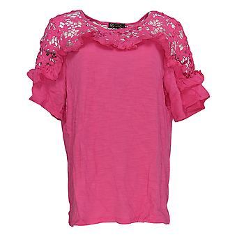 DG2 par Diane Gilman Women-apos;s Top Pink Tunique dentelle Crochet Coton 721-927