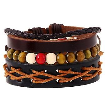 Retro Multiplayer Leather Bracelet Cowhide Hemp Wood Beads Bracelets for Men