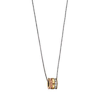 Fiorelli Silver Womens 925 Sterling Silver, Yellow & Rose Gold Plating Cubic Zirconia Barrel Pendant Necklace of Length 41cm + 5cm