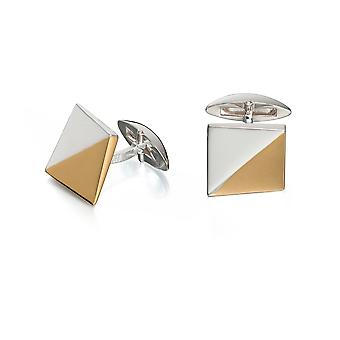 Fred Bennett Mens 925 Sterling Silver with Gold Plating Two Tone Triangle Pattern Square Cufflinks