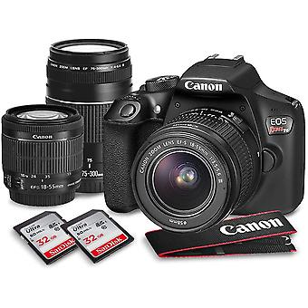 Canon eos rebel t6 dslr camera deluxe bundle with canon ef-s 18-55mm f/3.5-5.6 is ii lens +2x 32gb + 70-300mm lens + high-value accessory kit