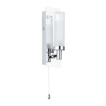 Lampe de salle de bains moderne Chrome 1 Lumière avec mixte, clair, teinte laituse, G9, IP44