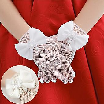 Kids Cream Lace Pearl Fishnet Gloves Communion Flower Party's High Elasticity