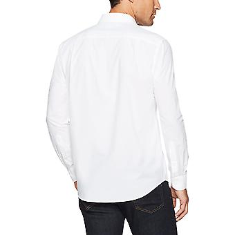 Essentials Men's Regular-Fit Long-Sleeve Solid Casual Poplin Shirt, weiß, X-Large