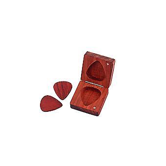 Guitar Pick Box Pear Wood Guitar Pick Box Holder Collector avec 2 pics de guitare
