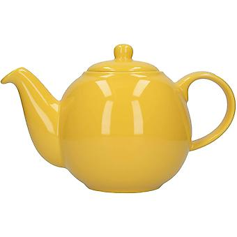 London Pottery Globe Teapot with Strainer, Ceramic, Yellow, 6 Cup Capacity (1.2 Litre)