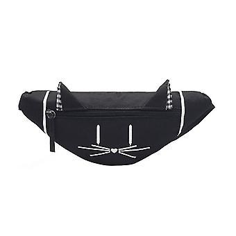Mini taška do pasu Fanny Pack Cute Cat Ear a Chest Canvas Pocket Money Belt Ženy