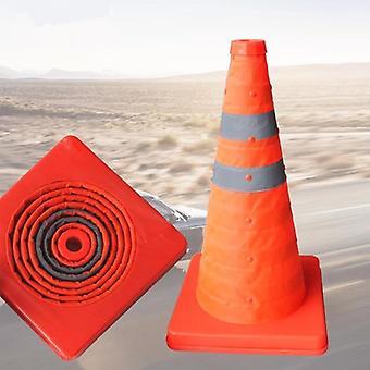 Διπλώνοντας σημάδι προειδοποίησης οδικής ασφάλειας, κώνος κυκλοφορίας, πορτοκαλιά αντανακλαστική ταινία