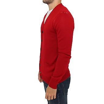 Karl Lagerfeld suéter cardigan de lana roja