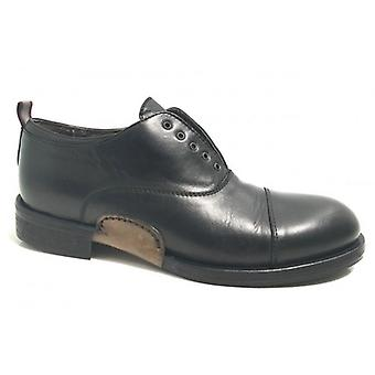Shoes Men's Cavallini Francesina Scamiciata Leather Washed Black Hand Made U17ca04