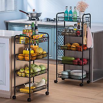 Multi-Layer Trolley Floor Shelf Removable Storage Rack Kitchen Bathroom Space Saving Mobile Storage Rack Organizer with Wheels